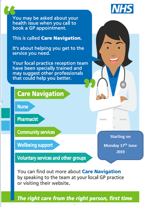 You may be asked about your health issue when you call to book a GP appointment. This is called Care Navigation. IT's about helping you get to the service you need. your local practice reception team have been specially trained and may suggest other professionals that could help you better.
