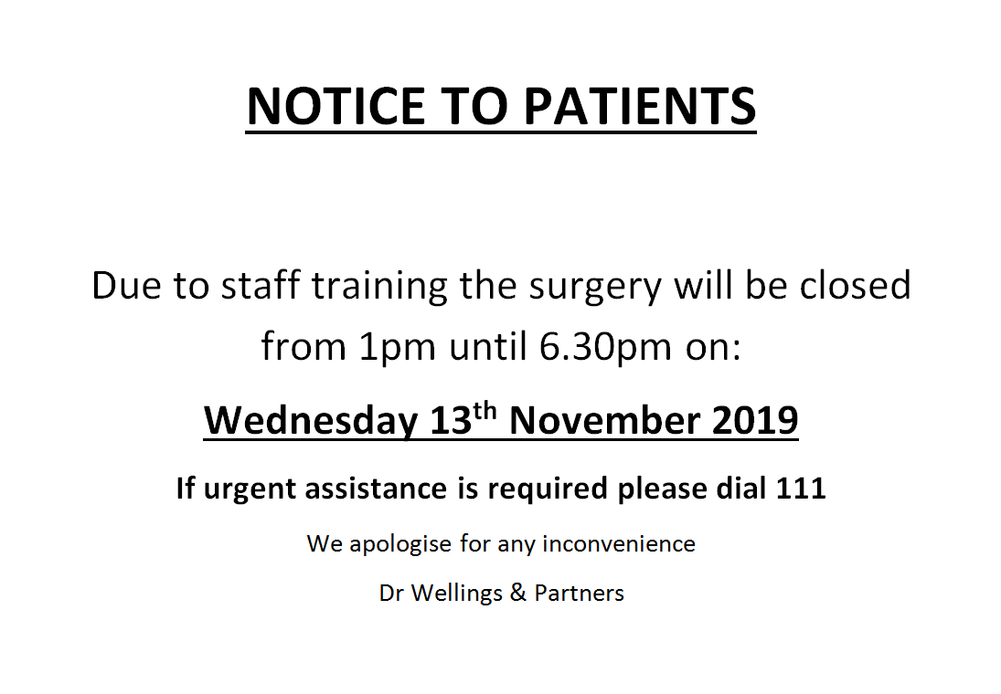 Information for patients - 13th November 2019